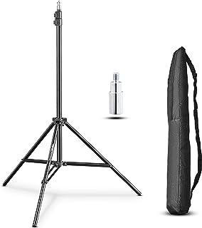 Walimex pro WT 803 Lampenstativ 208cm   kompaktes leichtes Lichtstativ aus Aluminium, Höhe max. 208 cm Traglast 3,5 kg für Fotografie Studio Mobil Video Blitz Softbox Ringlicht, mit Tasche + Adapter