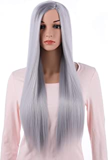 Onedor 31 Inches Long Straight Silver Synthetic Hair Women Full Head Cosplay Wig with Wig Cap