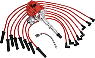A-Team Performance HEI Distributor 65K Red Cap, Silicone Spark Plug Wires Set Red and Pigtail Harness Kit Compatible with AMC Jeep 1967-90 290 304 343 360 390 401