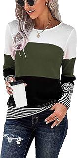 Womens Lightweight Color Block Shirts Long Sleeve Pullover Tunics Tops