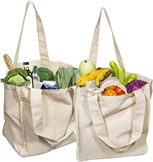 Best Cloth Tote Shopping Bags Heavy duty & Premium - Reusable Grocery Shopping Bags - Washable & Eco-friendly Cloth Beach Bags with Handles - Perfect Picnic Tote Bags (2 Bags)