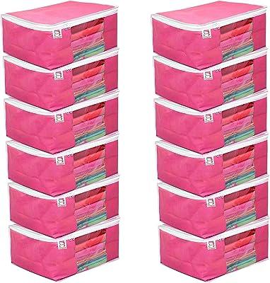 atorakushon® Fabric 12 Piece Saree Cover Clothes Storage Bags Garments Wardrobe Organiser (Pink)