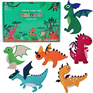 Hummingbird Crafts Felt Sewing Kit for Kids Ages 8-12, 6 Pre-Cut Dragon Patterns with Colorful Embroidery Threads, Plastic...