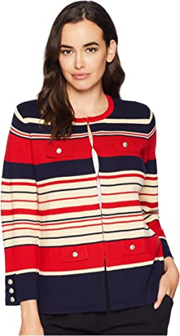 Multi Striped Cardigan with Pocket Flaps