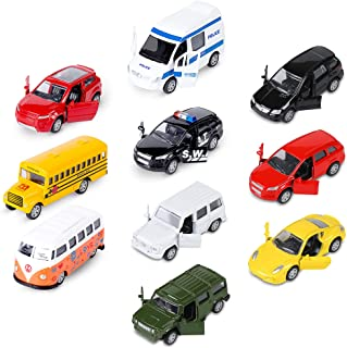 Die-cast Metal Toy Cars Set of 10, Openable Doors, Pull Back Car, Gift Pack for Kids (Official Car & Private car)