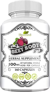 Herbalicious Beet Root Capsules - Herbal Supplement for Athletic Performance, Blood Pressure & Liver Support - Natural Energy Booster for Men & Women - Non-GMO & USA Made Formula - 160 Caps