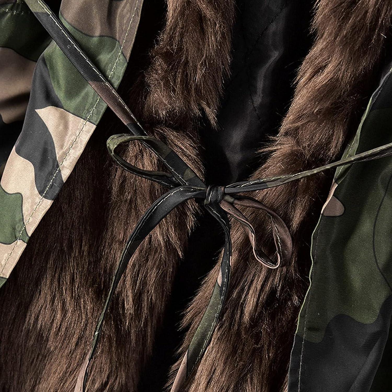 Fleece Thick Women Coats Winter Warm Trench Coats Mid-Length Camouflage Girls Overcoat