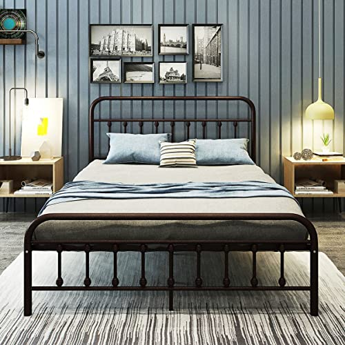 Modern Farmhouse Steel Metal Queen Size Platform Bed Frame With Slats in Brown