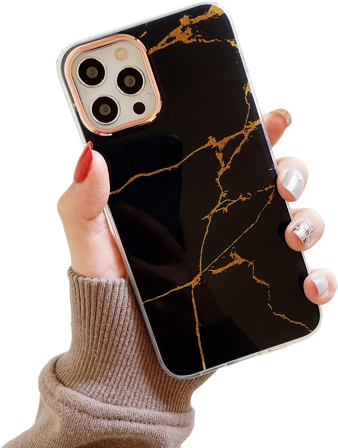 Cocomii Shiny Marble iPhone 12 Pro Max Case, Slim Glossy Soft TPU Silicone Rubber Shiny Reflective Streaks Hard Back Shockproof Bumper Cover Compatible with Apple iPhone 12 Pro Max 6.7