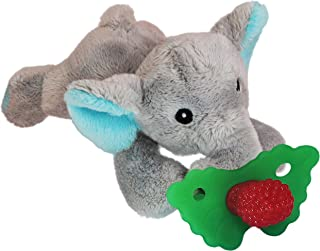 RaZbaby RaZbuddy RaZberry Teether/Pacifier Holder w/Removable Baby Teether Toy - 0M+ - Bpa Free - Elephant