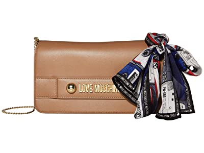 LOVE Moschino Lettering Clutch/Crossbody (Camel) Handbags