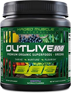 Kaged Muscle Outlive 100 Organic Superfoods and Greens Powder with Apple Cider Vinegar, Antioxidants, Adaptogen, Prebiotic...