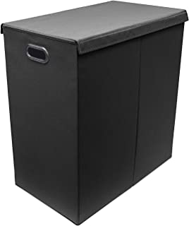 Sorbus Laundry Hamper with Lid Closure – Foldable Double Sorter Detachable Cover and Divider, Built-in Handles for Easy Transport, Black