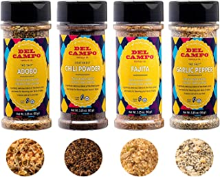 Del Campo Healthy Spices and Seasonings Gift Set – Flavors Include: No-Salt Adobo, No-Salt Garlic Pepper, Fajita & Chili P...