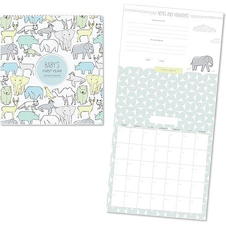 "C.R. Gibson Animal Themed First Year Calendar for Babies and Newborns by DwellStudio, 11"" x 18"""