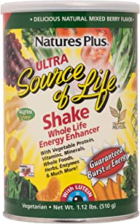 NaturesPlus Ultra Source of Life with Lutein Shake - 1.2 lb, Drink Powder - Mixed Berry Flavor - Vitamins & Protein for Overall Health, Energy & Eye Function - Vegetarian, Gluten-Free - 15 Servings