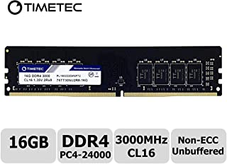 Timetec Extreme Performance Hynix IC DDR4 3000MHz PC4-24000 CL16 1.35V Unbuffered Non-ECC Single Rank Designed for Gaming and High-Performance Compatible with AMD and Intel Desktop Memory (16GB)