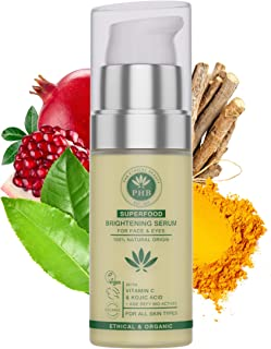 Vitamin C Eye and Face Serum with Kojic and Hyaluronic Acid. A 2-IN-1 Organic Face Brightening Serum for Dark Circles, Eye Puffiness and Wrinkles. 30 ml