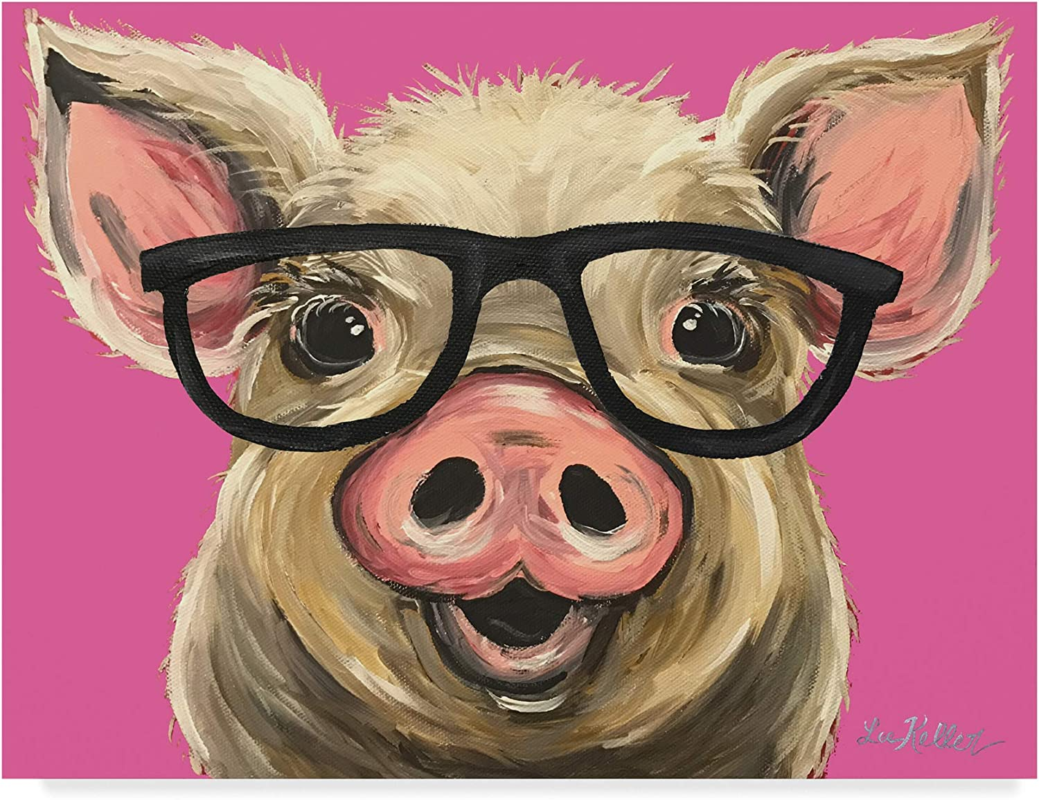 Trademark Fine Art Pig Posey Glasses Pink by Hippie Hound Studios, 14x19