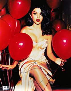 Selena Gomez Signed Autographed 11X14 Photo Sexy Dress Red Balloons GV796665