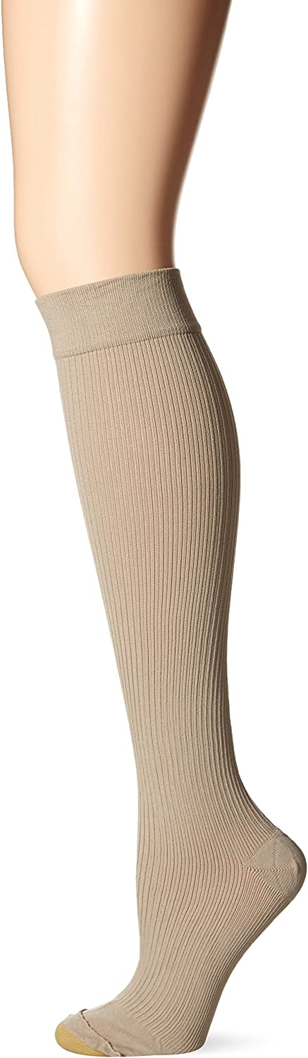 Gold Toe womens Moderate Compression Ribbed Over the Calf Socks, 1 Pair