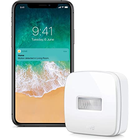 EVE 10027806 Motion - Apple HomeKit Smart Home Motion Sensor for Triggering Accessories and Scenes, White