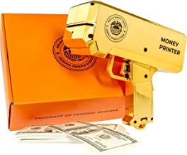 The Money Printer – Golden Money Gun Shooter with Fake Money ($10000 Play Money) – Gift Box Included – Bachelor Party Supplies, Bachelorette Party Games, Birthday Party, Prank Stuff