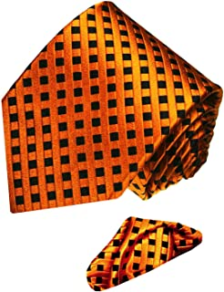 Luxury Italian 100% Pure Silk Tie Hanky Set Black Orange Checkered Necktie - 8445801