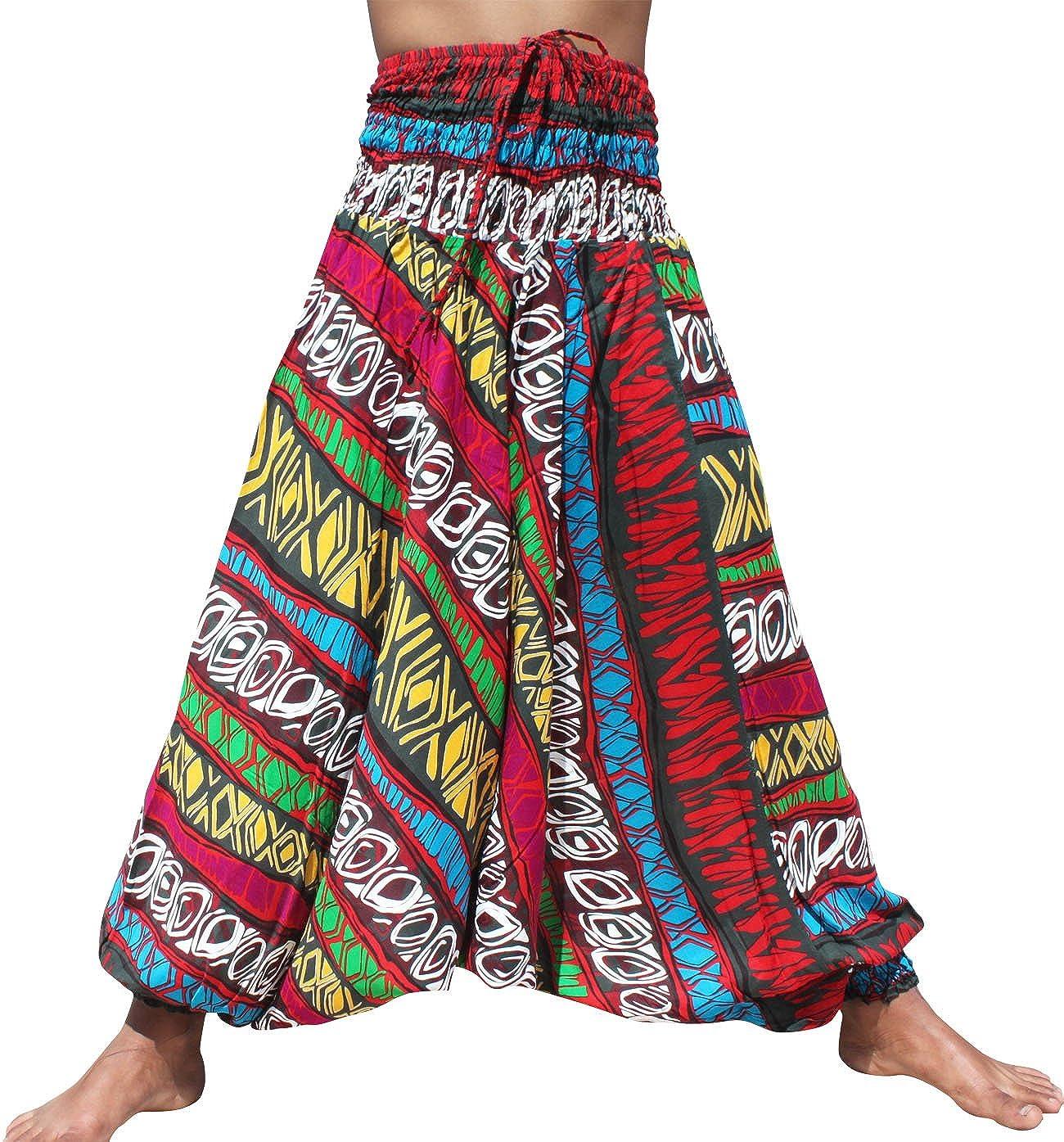 Full Funk Harem Hippie Boho Aladdin Dashiki Pants for Women, Ray