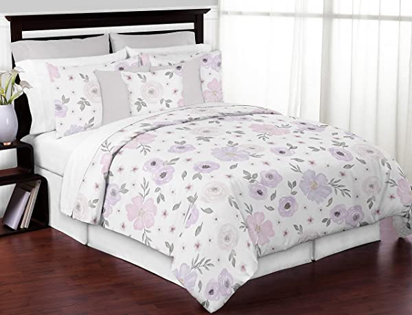Sweet Jojo Designs Lavender Purple Pink Grey And White Shabby Chic Watercolor Floral Girl Full Queen Teen Childrens Bedding Comforter Set 3 Pieces Rose Flower