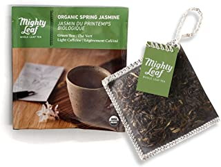 Mighty Leaf Tea Organic Spring Jasmine Tea Pouches, 100 Count Green Tea Bags in Individual Foil Packs, USDA Organic