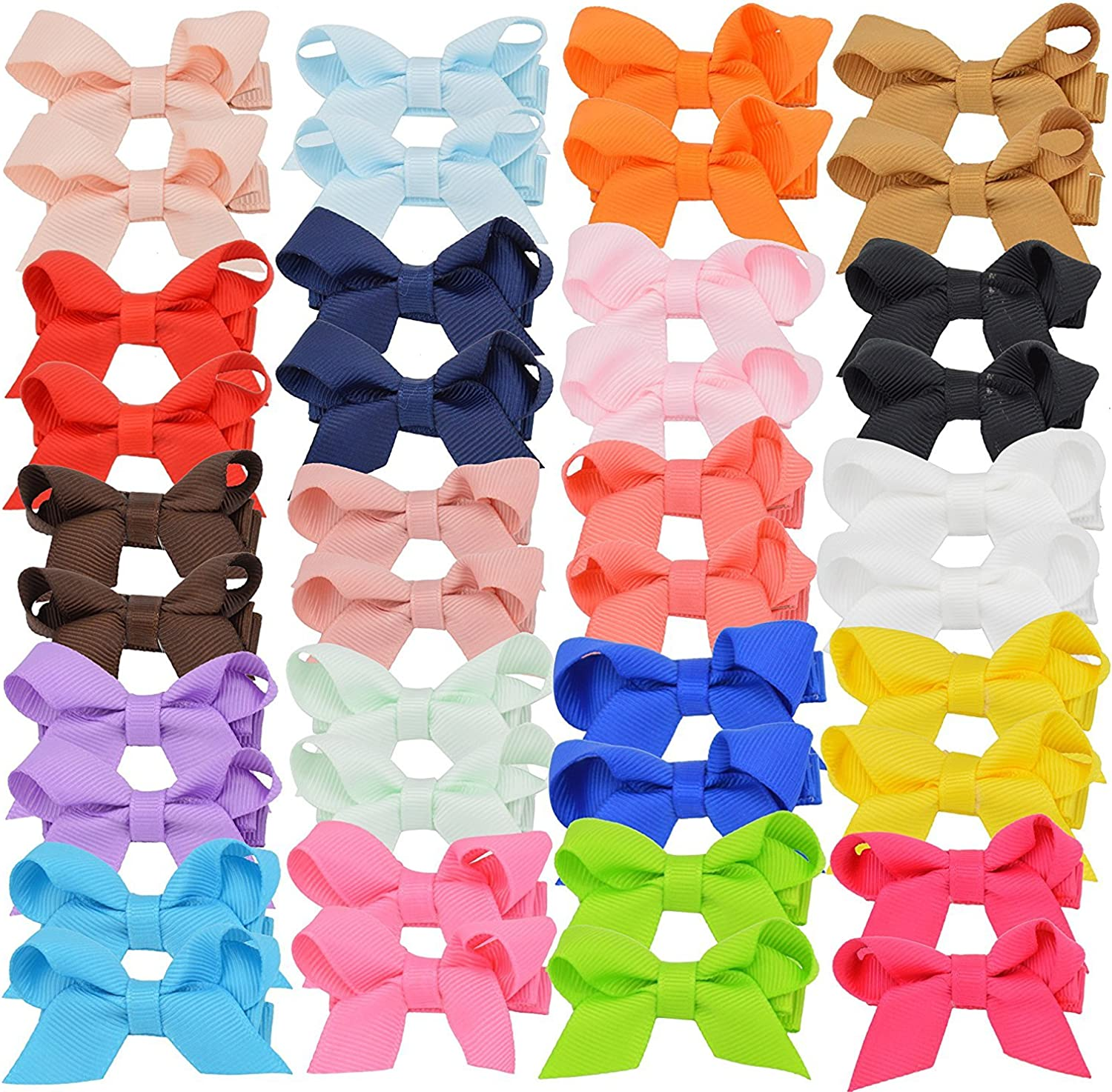 20 Pairs Tiny Grosgrain Ribbon Hair Superior for Deluxe Barrettes Baby Bow Clips
