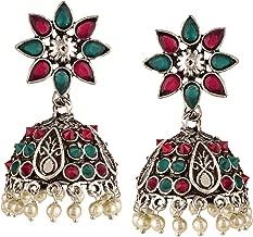 Efulgenz Boho Vintage Antique Gypsy Tribal Crystal Kundan Indian Oxidized Silver Jhumka Dangle Earrings Jewelry