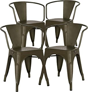 Poly and Bark Trattoria Modern Mid-Century Dining Kitchen Metal Side Arm Chair in Bronze (Set of 4)