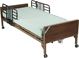 Drive Medical Delta Ultra Light Full Electric Bed with Half Rails and Therapeutic Support Mattress, Model - 15033BV-PKG-1-T