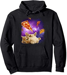 Cats in Space with Pizza Slices and Tacos Pullover Hoodie