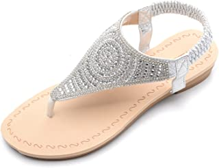 Mila Lady Rhinstone Floral Sparkle Flat Sandals with Comfortable Padded Sole