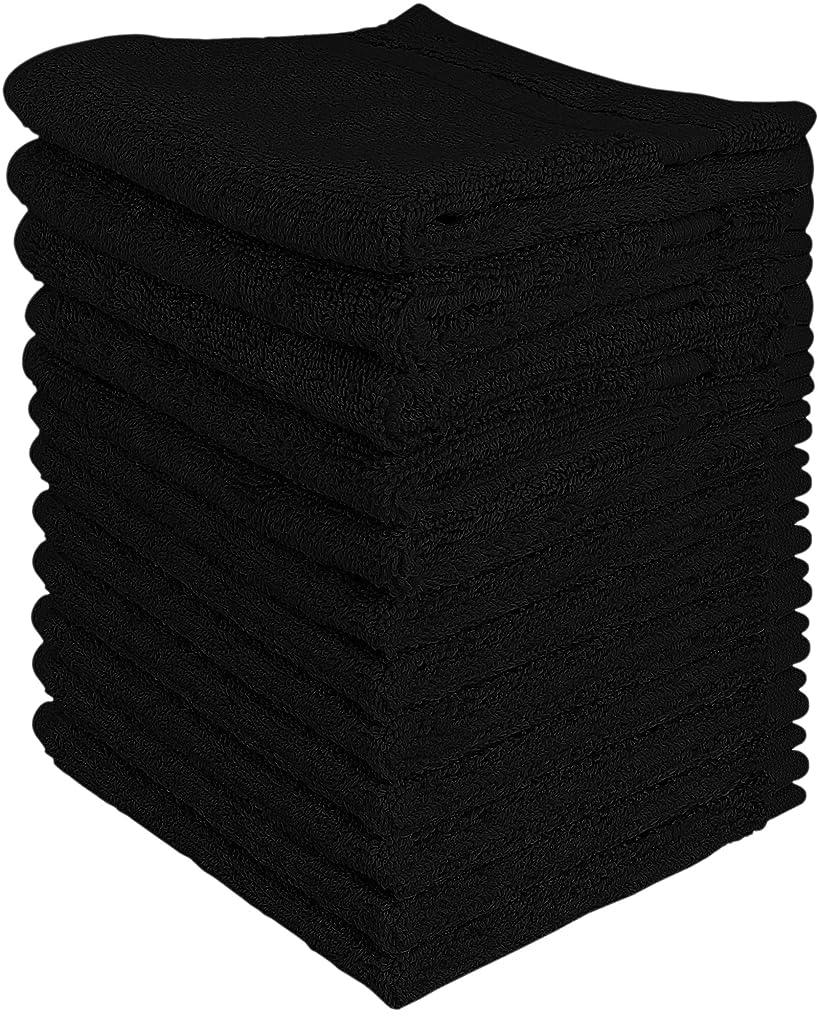 クッションしわ発音(Black) - Utopia Luxury Washcloths 33cm x 33cm 12 pack - Black