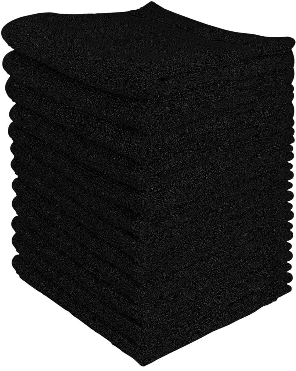 お金細分化する用心(Black) - Utopia Luxury Washcloths 33cm x 33cm 12 pack - Black