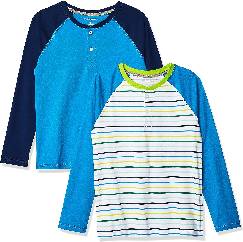 Amazon Essentials Boys' Long-Sleeve Henley T-Shirts