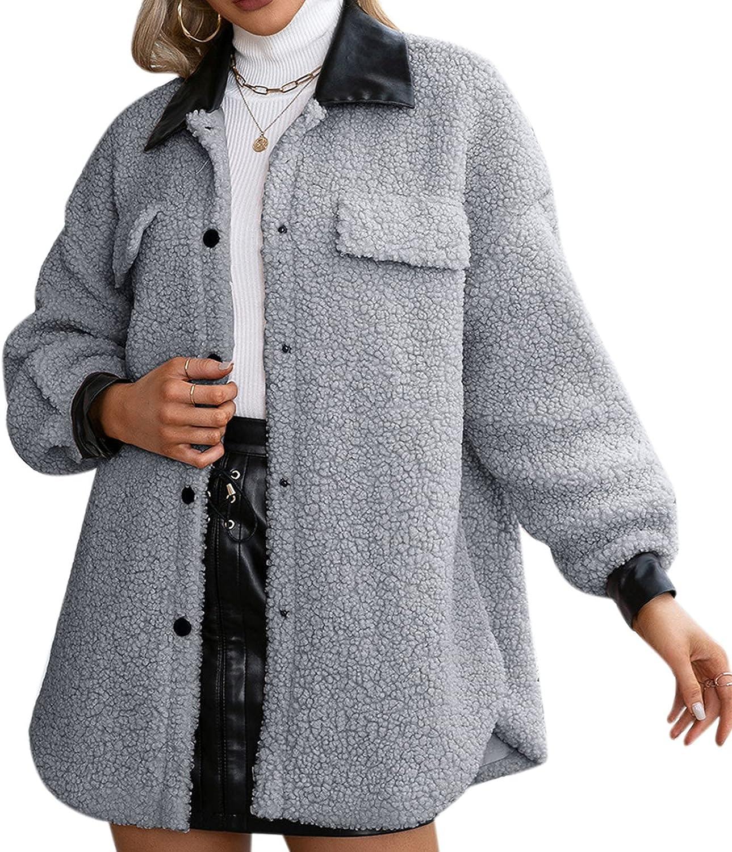 VEFSU Women Plush Coat Made of Pu Leather Splicing Jacket Snap Button Warm Coat Top