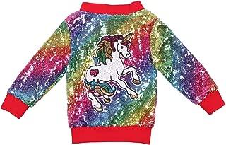 Girl Unicorn Sequin Jacket Kids Casual Bomber Jacket Zipper Coat Outwear