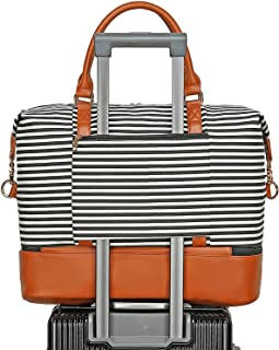 BLUBOON Weekender Bag Women Ladies Overnight Carry-on Tote Canvas Travel Duffle Bag in Trolly Handle Bag with Shoe Compartment (289 Black Stripe-Brown)