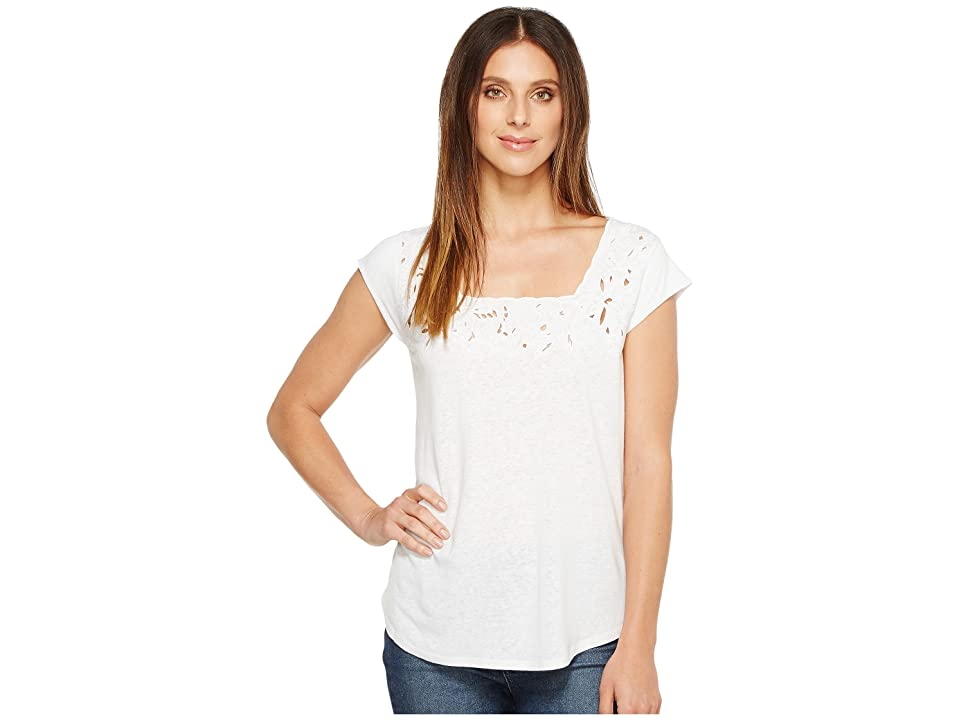 NYDJ Cut Out Knit Tee (Optic White) Women