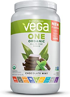 Vega One Organic All-in-one Shake Chocolate Mint - Plant Based Vegan Protein Powder, Non Dairy, Gluten Free, Non GMO, 25 Ounce (Pack of 1)
