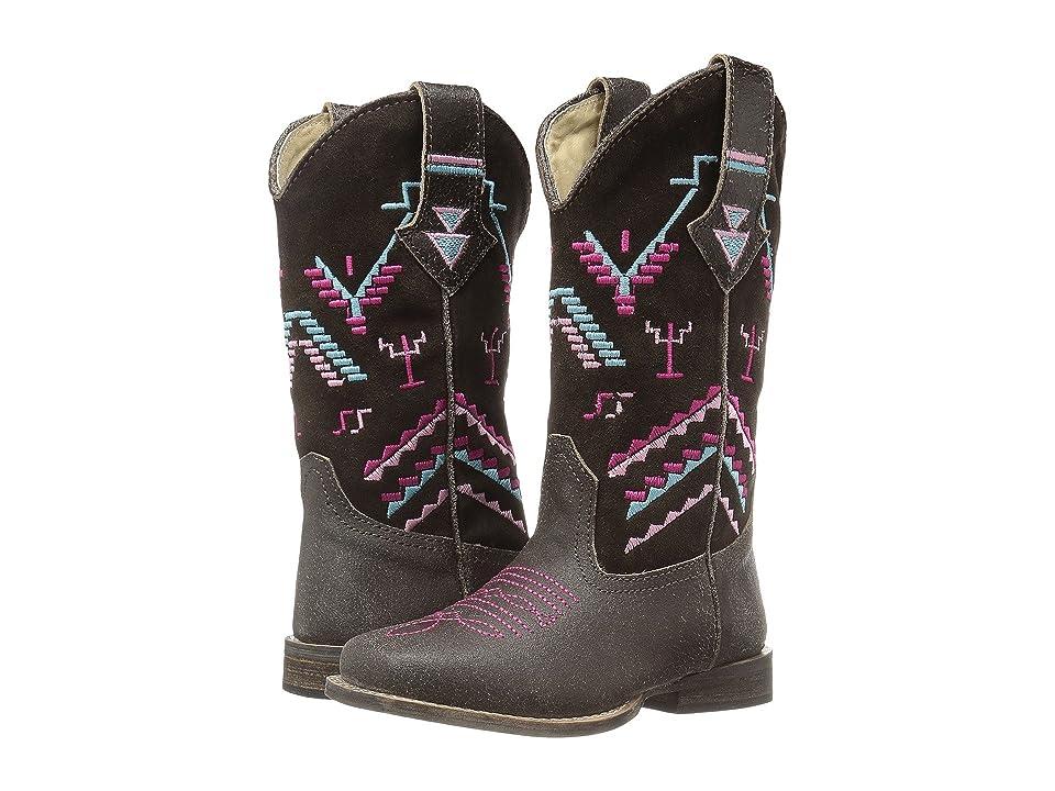 Roper Kids Hunter (Toddler/Little Kid) (Brown Suede Vamp/Aztec Embroidered Shaft) Cowboy Boots