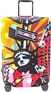 Periea Premium 3mm Elasticated Suitcase Luggage Cover - 38 Different Designs - Small, Medium or Large (Pop Art Statue of Liberty, Large)
