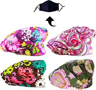 satin bouffant scrub hats