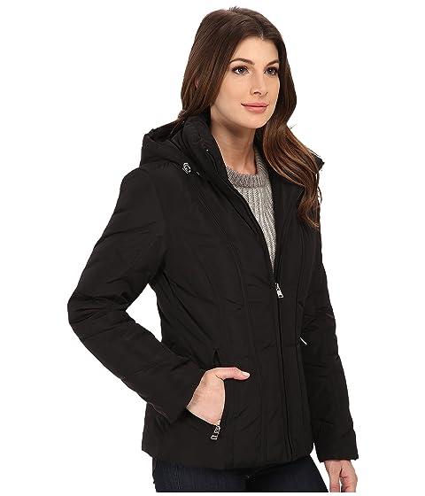 Klein negro capucha abajo Calvin corto abrigo sin con de recortar Fwyq4dqT
