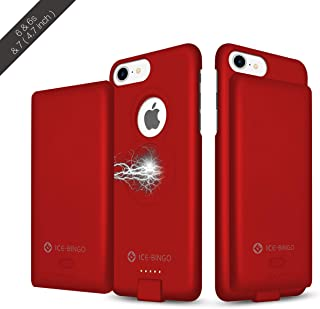 iPhone 6/6s/7 Battery Case, 4000mAh Portable Wireless Charging Case, Extended Battery Pack Protective Backup, Apple Portable Slim Power Bank, Red (4.7 inch)